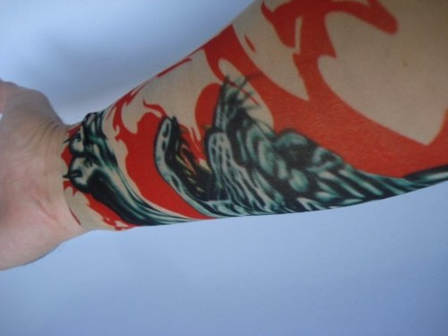 Manga Tatuada Braço Flame Tiger Tigre Style Tatuagem Spandex  - Presente Presente