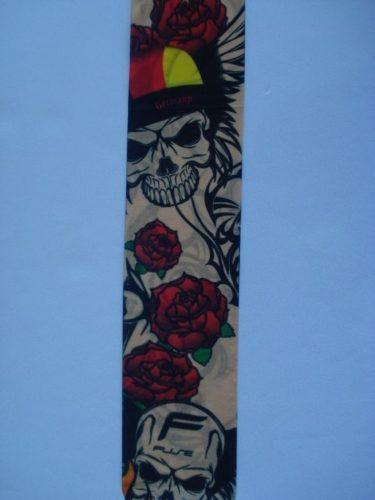 Manga Tatuada Caveira E Flores Tatuagem Spandex 039  - Presente Presente