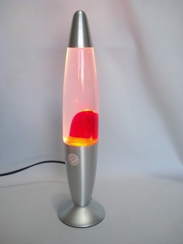Luminária Abajur Lava Lamp Motion 34cm Pink Base Prata.  - Presente Presente