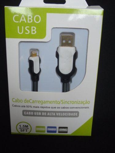 Cabo Usb Fast Charger 1,5m Iphone 5 6 7 Preto E Branco  - Presente Presente