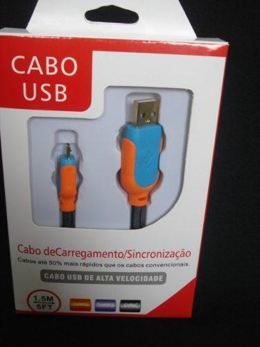 Cabo Usb Fast Charger 1,5m Samsung S3 S4 S5 V8 Laranja Azul  - Presente Presente