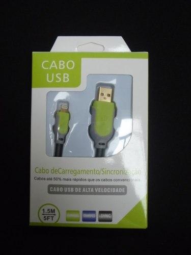 Cabo Usb Fast Charger 1,5m Iphone 5 6 7 Verde E Cinza  - Presente Presente