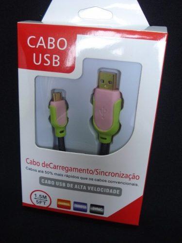 Cabo Usb Fast Charger 1,5m Samsung S3 S4 S5 V8 Verde Rosa  - Presente Presente