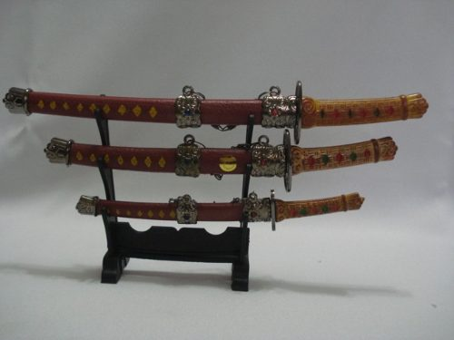 Mini Espada Samurai 3 Peças Decoração Enfeite Marrom  - Presente Presente