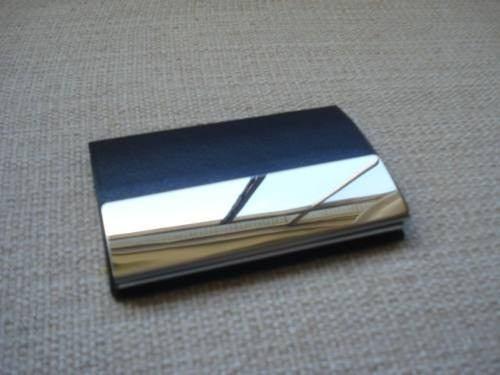Porta Cartão Visitas Placa Metal Gd Preto Couro  - Presente Presente
