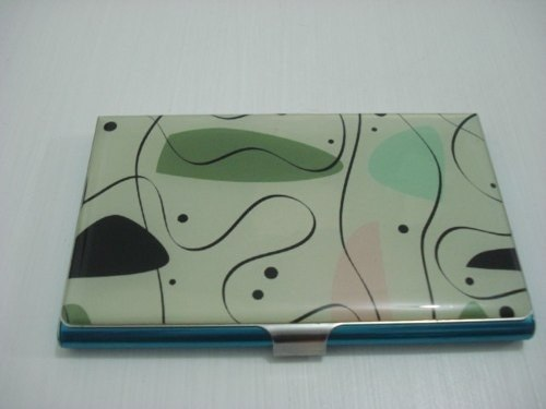 Porta Cartão De Visitas Inox Creme E Verde Desenhos  - Presente Presente
