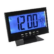 Relógio De Mesa Lcd Digital Despertador Temperatura Led Azul