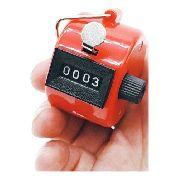 Kit 12 Contador Estatístico Fluxo 4 Dígitos Manual Vermelho