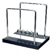 - Pêndulo De Newton Luxo Preto 21cm Metal Madeira Espelhado