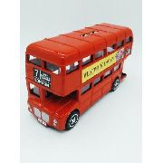 Cofre Onibus Ingles Miniatura Metal London Bus Vermelho