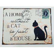 Placa Metal Casa Sem Gato 40x30cm Decoração Coleção