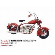 Moto Metal Chopper Vermelha Decoração Vintage