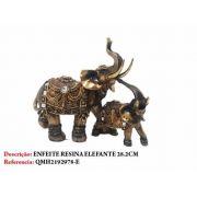 Enfeite Resina Casal Elefante 28cm Decoração 51q5-e