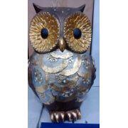 Coruja Gold 22cm Resina Enfeite Decoração Owl