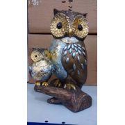 Coruja Casal Resina Enfeite Decoração Owl Mod 2
