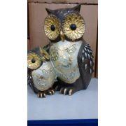 Coruja Casal Gold Resina Enfeite Decoração Owl