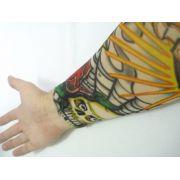 Manga Tatuagem Caveira Coração Tatuada Spandex 075