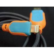 Cabo Usb Fast Charger 1,5m Iphone 5 6 7 Laranja E Azul