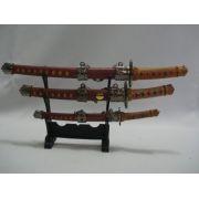 Mini Espada Samurai 3 Peças Decoração Enfeite Marrom