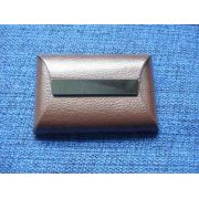 Porta Cartão De Visitas Marrom Placa De Metal Fumê Couro