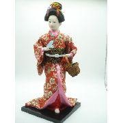Boneca Gueixa Japonesa Borboleta E Cesto Chinesa Oriental