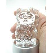 Enfeite Gato Miniatura Vidro Base Led Decoração 9cm