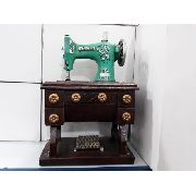 Cofre Resina Maquina De Costura Verde Vintage Retro