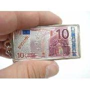 Conjunto 6 Peças Chaveiro Metal Cédula Nota De Euro