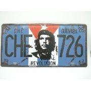 Placa Metal Che Guevara Cuba 30x15cm Vintage Revolução