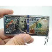 Chaveiro Metal Cédula Nota De 100 Dolares