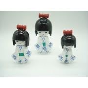 Boneca Kokeshi Japonesa Trio Branca