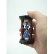 Mini Ampulheta 8cm Em Madeira Areia Azul Decoração Retro