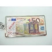 Chaveiro Metal Cédula Nota De 50 Euros