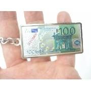 Chaveiro Metal Cédula Nota De 100 Euros