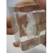 Frete Gratis Peso Papel Jesus Cristo 3d Holograma 6cm