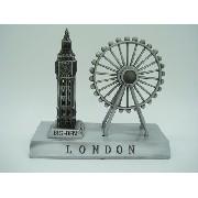 Miniatura Roda Gigante Big Ben Londres Prata Enfeite Luxo