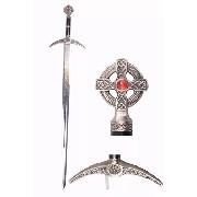 Espada Maçonica Templaria 120cm Com Suporte De Parede