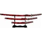 Espada Katana Samurai Kit C/ 3 Vermelha + Sup. Frete Gratis