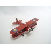 Avião De Guerra Miniatura Metal Vermelho 22cm