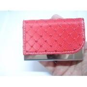 Porta Cartão Credito Visitas Vermelho Mini Lantejoulas