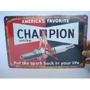Placa Metal Vela Champion Carro Vintage 30x20cm