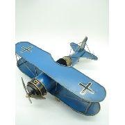 Avião De Guerra Miniatura Metal Azul 30cm