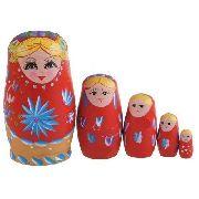 10 Peças Boneca Matryoshka Russa Vermelha 5 Peças Madeira