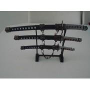 Espada Samurai Sabre Japones 3 Peças Decoração Enfeite