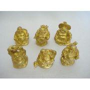 Conjunto Buda Dourado 6 Peças Set Figure