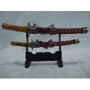 Espada Samurai Sabre Japones 2 Peças Decoração Enfeite Orien