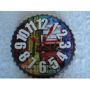 Relógio De Parede Londres Vintage Tampinha Garrafa