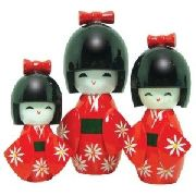 Boneca Kokeshi Japonesa Trio Vermelha