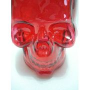 Garrafa De Vidro Colorida Caveira Vermelha Cranio