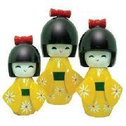 Boneca Kokeshi Japonesa Trio Amarela